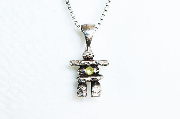 sterling and peridot inukshuk pendant
